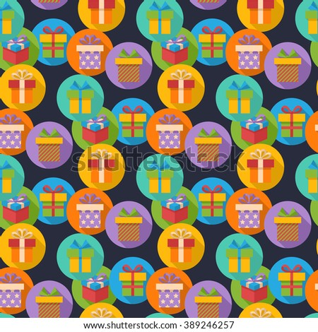 Vector seamless pattern with gift box icons in flat style on the bright multicolored circle with shadow - stock vector