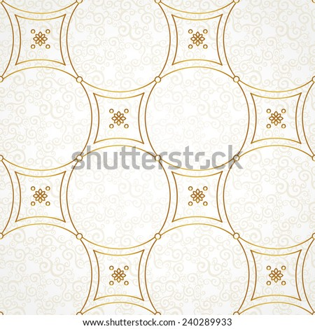 Vector seamless pattern with golden ornaments. Vintage element for design in Eastern style. Ornamental lace tracery. Ornate floral decor for wallpaper. Endless vintage texture. Light pattern fill. - stock vector