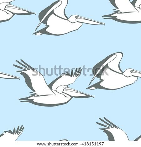 Vector seamless pattern with graceful flying pelicans.  Beautiful design elements, perfect for prints and patterns. - stock vector