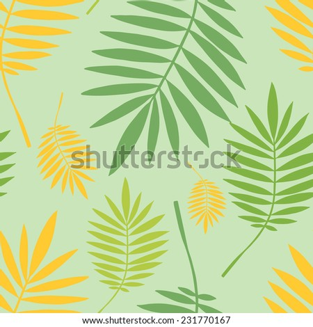 Vector seamless pattern with  green and yellow tropical leaves on green background. Seamless decorative template texture with leaves. Endless leaf background.  - stock vector