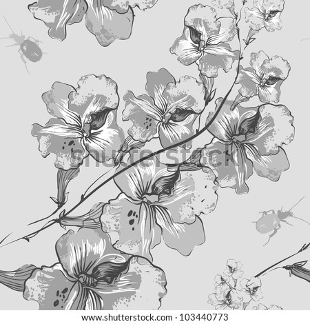 vector seamless pattern with grey flowers and bugs - stock vector