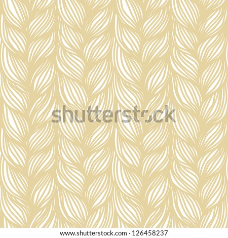 Vector seamless pattern with hairstyle of light brown plaits. Abstract illustration of interweaving of braids. Decorative textured yarn close-up. Ornamental background in the shape of a knitted fabric - stock vector