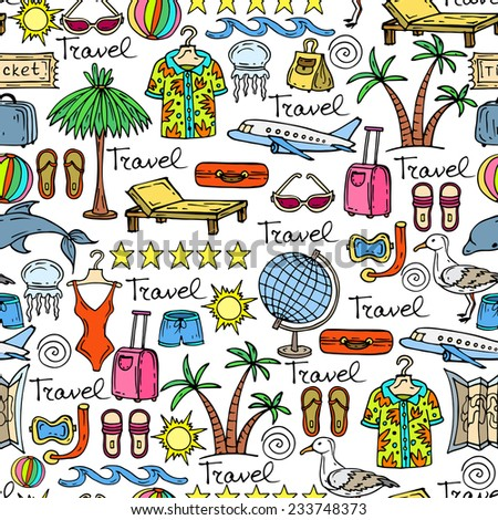 Vector seamless pattern with hand drawn and cartoon symbols of travel. Background for use in design, web site, packing, textile, fabric - stock vector