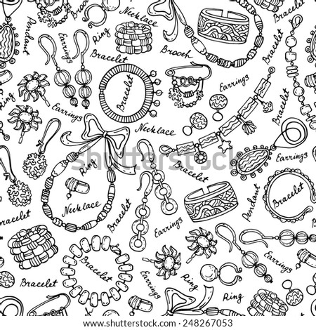 Vector seamless pattern with hand drawn and fashionable jewelry on white background. Background for use in design, web site, packing, textile, fabric - stock vector