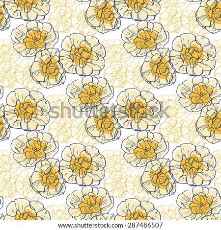 Vector seamless pattern with hand drawn bright flowers of narcissus on white background. Dark blue and orange outline. Bridal crown narcissus - stock vector