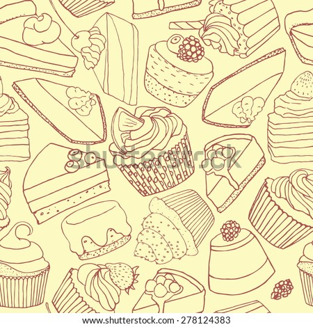Vector seamless pattern with hand drawn desserts. Beautiful design elements for pastry shops, coffee houses, cafes or any other business related to the catering. - stock vector