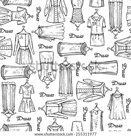 Vector seamless pattern with hand drawn dresses for women on white background. Background for use in design, web site, packing, textile, fabric - stock vector
