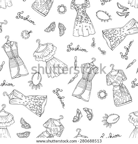 Vector seamless pattern with hand drawn fashionable dresses, shoes and accessories for women on white background. Background for use in design, web site, packing, textile, fabric - stock vector