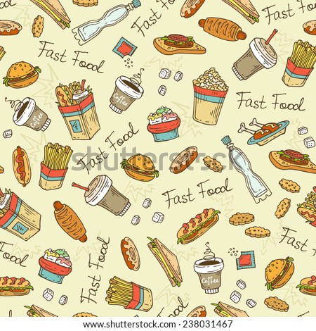 Vector seamless pattern with hand drawn fast food. Background for use in design, web site, packing, textile, fabric - stock vector