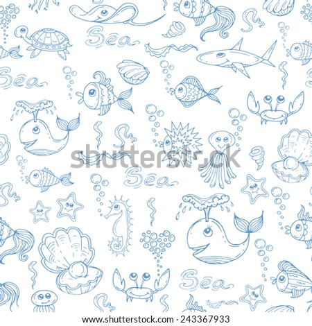 Vector seamless pattern with hand drawn fish and underwater world on white background. Background for use in design, web site, packing, textile, fabric - stock vector