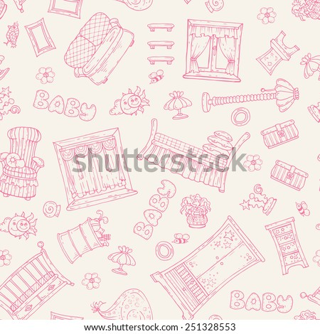 Vector seamless pattern with hand drawn furniture for girl's room on beige background. Background for use in design, web site, packing, textile, fabric - stock vector