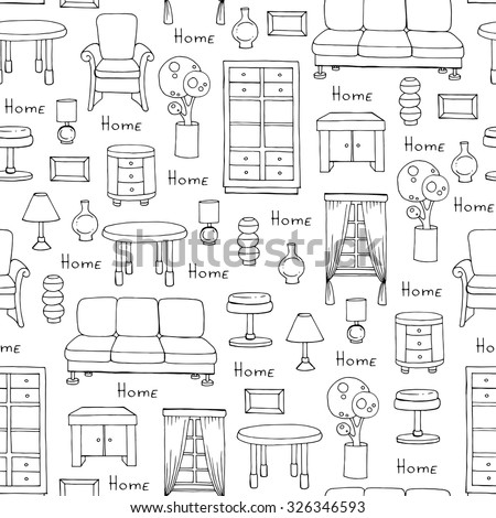 Vector seamless pattern with hand drawn furniture - sofa, chair, cabinet, lamp, table, curtain on white color. Pattern on the theme of interior. Background for use in design,  packing, textile, fabric - stock vector