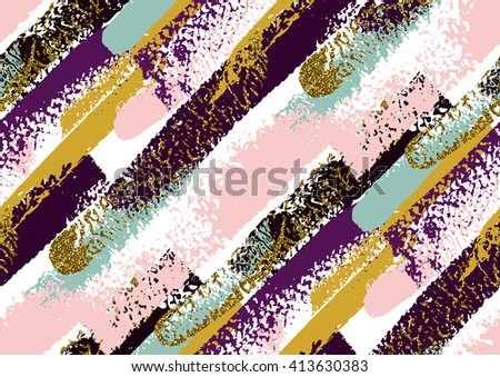 Vector seamless pattern with hand drawn gold glitter textured brush strokes and stripes hand painted. Black, gold, pink, green, violet colors. - stock vector