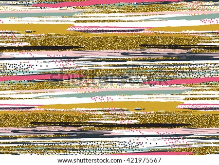 Vector seamless pattern with hand drawn gold glitter textured brush strokes and stripes hand painted. Black, gold, pink, green, brown colors. - stock vector