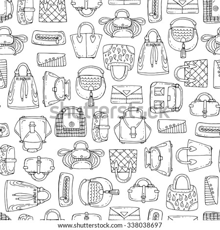 Vector seamless pattern with hand drawn handbags for women on white color. Pattern on the theme of fashion. Background for use in design, packing, textile, fabric - stock vector