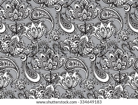 Vector seamless pattern with hand drawn Henna mehndi design floral elements - stock vector
