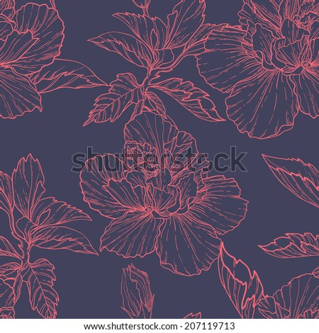 Vector seamless pattern with hand drawn hibiscus flowers. - stock vector