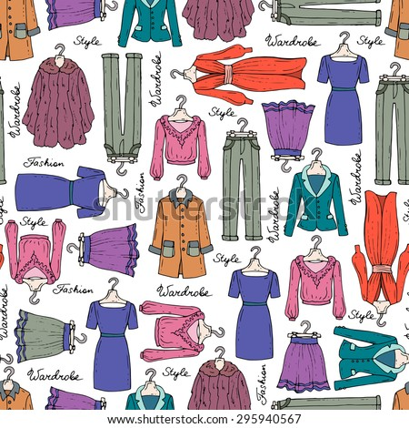 Vector seamless pattern with hand drawn isolated fashionable clothes for women. Pattern with dress, coat, skirt, jacket, trousers, fur. Background for use in design, web site, packing, textile, fabric - stock vector