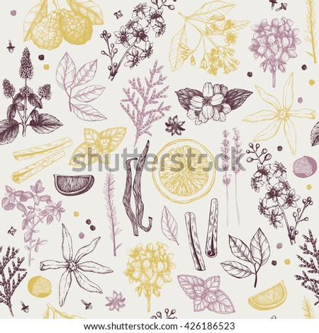 Vector seamless pattern with hand drawn perfumery and cosmetics ingredient sketch.  Vintage background with aromatic plants for high-quality cosmetics and scented industry - stock vector