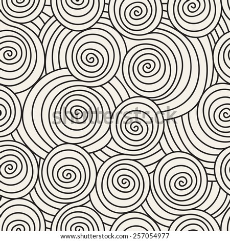 Vector seamless pattern with hand drawn scrolls. Linear spiral texture. Stylish  background with doodles. Modern graphic design - stock vector
