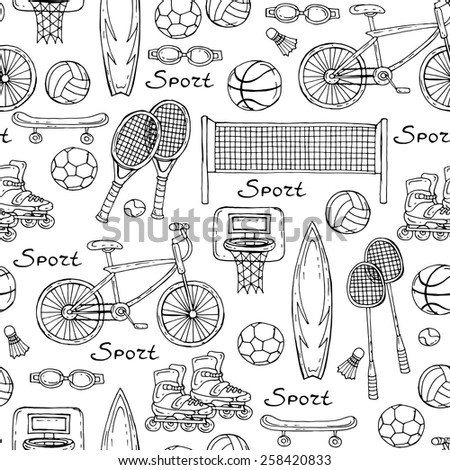 Vector seamless pattern with hand drawn sport equipment on white background. Background for use in design, web site, packing, textile, fabric - stock vector