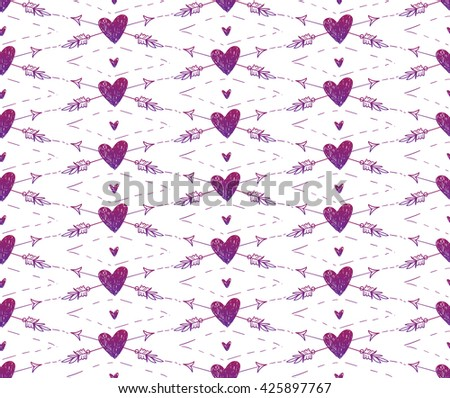 Vector seamless pattern with hearts. Red polka dot pattern. Pattern in swatches. - stock vector