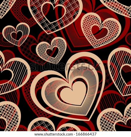 Vector Seamless Pattern with Hearts. Valentine's Day - stock vector