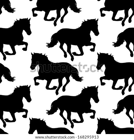 Vector seamless pattern with horses silhouettes. - stock vector