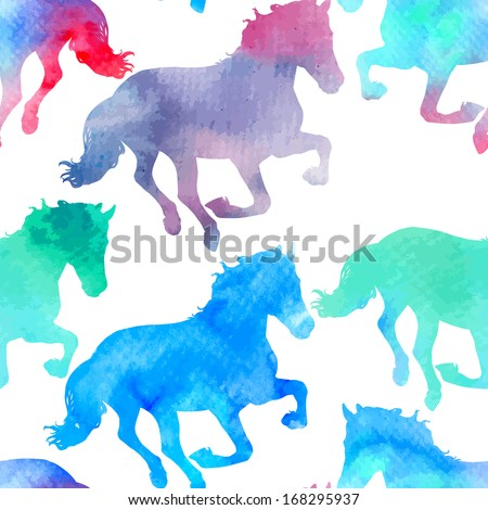 Vector seamless pattern with horses silhouettes, decorated with watercolor-like texture. - stock vector