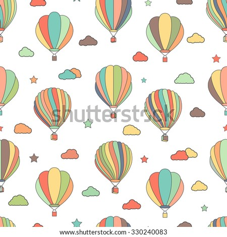 Vector seamless pattern with hot air balloons, stars and clouds. Fun hand drawn children texture, background for kids. - stock vector