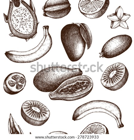 Vector seamless pattern with ink hand avocado for kitchen and restaurant design. Vintage tropical fruit background isolated on white.  - stock vector