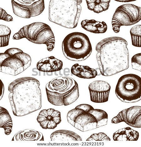 Vector  seamless pattern with ink hand drawn breads and pastries illustration isolated on white background for restaurant or bakery menu. - stock vector