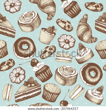 Vector seamless pattern with  ink  hand drawn cakes and pastries illustration isolated on mint background. Vintage bakery background. - stock vector