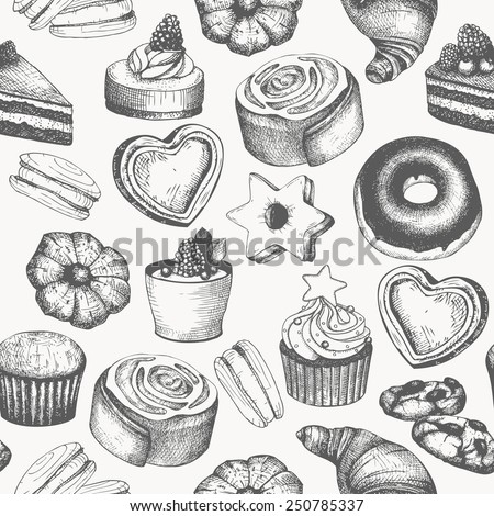 Vector seamless pattern with ink hand drawn cakes and pastries illustration isolated on white. Vintage bakery background. - stock vector