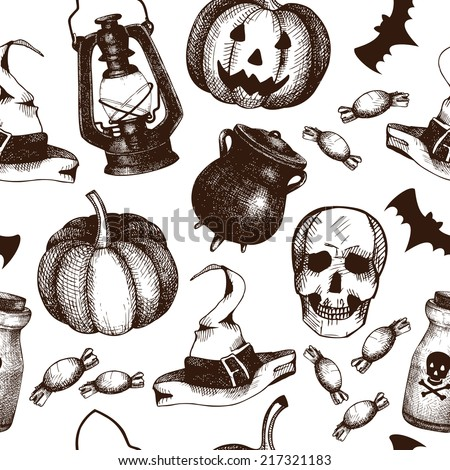 Vector seamless pattern with ink hand drawn halloween illustration. Vintage background for halloween design isolated on white - stock vector