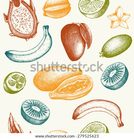 Vector seamless pattern with  ink hand exotic fruits sketch for kitchen and restaurant design. Vintage tropical fruit background. - stock vector