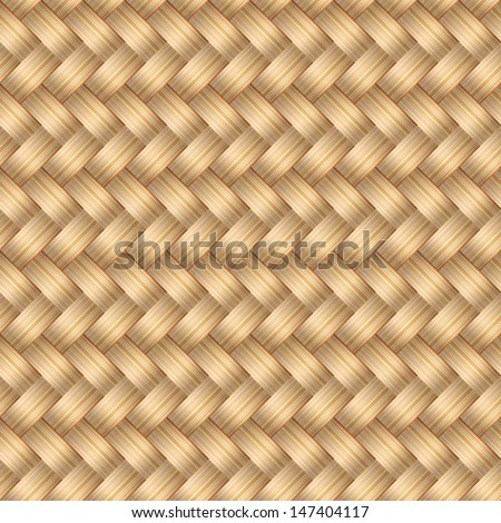 Vector seamless pattern with interweaving of  blonde braids. Abstract ornamental background in form of a knitted fabric. Illustration of stylized textured yarn or hairstyle with plaits close-up. EPS10 - stock vector