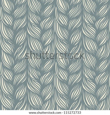 Vector seamless pattern with interweaving of grey braids. Abstract background in the form of hairstyle in plaits. Ornamental illustration with stylized texture of yarn or knitted fabric close-up - stock vector