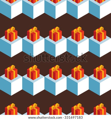 Vector seamless pattern with isometric white cubes and red gift boxes on a brown background. - stock vector