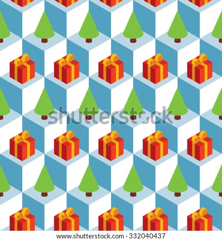 Vector seamless pattern with isometric white cubes, red gift boxes and green fir trees. - stock vector