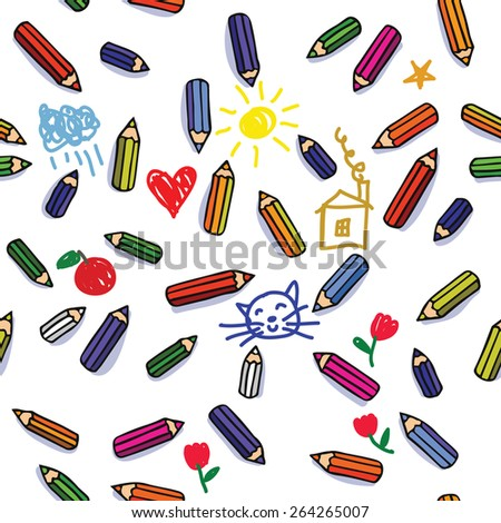 vector seamless pattern with lot of colored pencils and cute childlike doodles - stock vector