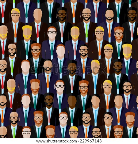 vector seamless pattern with men (businessmen or politicians) crowd. flat  illustration of business or politics community. summit or conference family image - stock vector