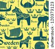 Vector seamless pattern with national symbols of Sweden on the yellow background - stock vector