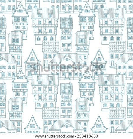 Vector seamless pattern with old European houses. Hand drawn vector illustration. - stock vector
