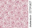 Vector seamless pattern with outline stylized roses. Beautiful floral background. Can be used for textile, website background, book cover, packaging, wedding invitation. - stock vector