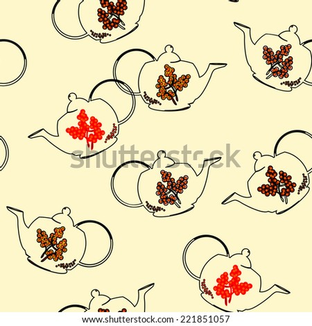 Vector seamless pattern with outline tea pots - stock vector