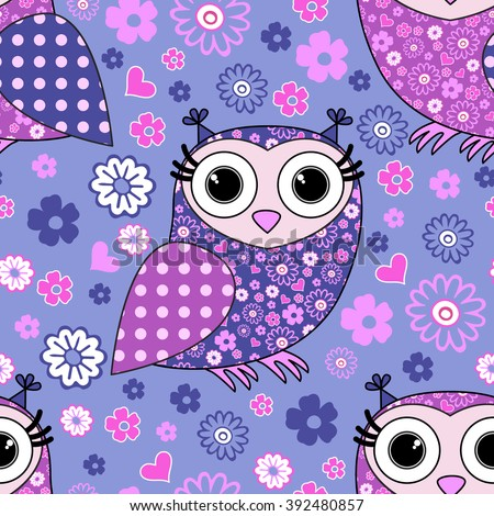 Vector seamless pattern with owls.  - stock vector