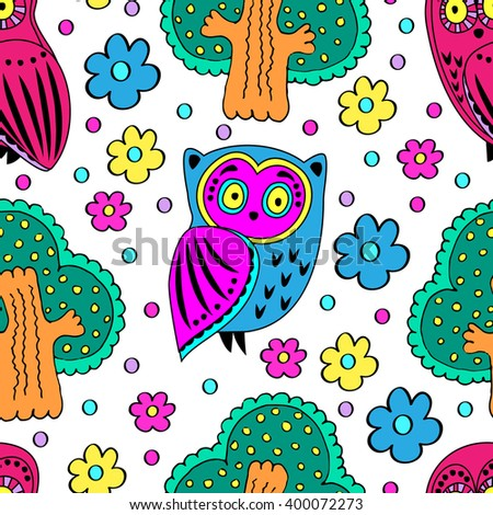 Vector seamless pattern with owls and trees - stock vector