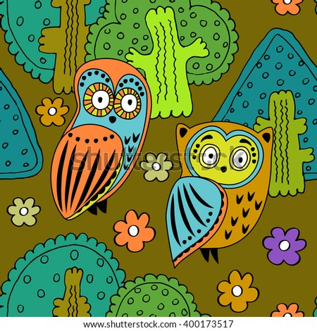 Vector seamless pattern with owls in the forest. Green, orange, violet, yellow. - stock vector