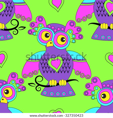 Vector seamless pattern with owls 7. Magic, fairy bird on a branch. Violet, pink, green,blue, yellow. - stock vector